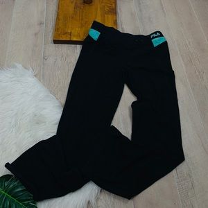 Fila Black Stretch Athletic Wear Yoga Pants 3224